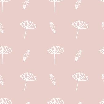낙서 식물 패턴입니다. 완벽 한 배경입니다. 귀여운 추상 꽃과 잎입니다. 미니멀리즘 디자인. 섬유, 디지털 종이, 화장품 포장을 위한 유니버설 디자인. 벡터 일러스트 레이 션, 손으로 그린