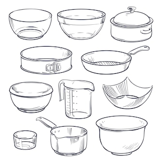 Doodle plastic and glass bowls, pot and frying pan. vintage hand drawn vector cookware isolated