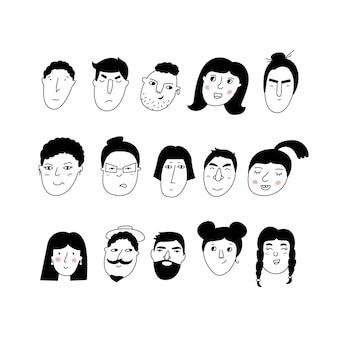 낙서 초상화 여자와 남자 유행 손으로 그린 아이콘 모음