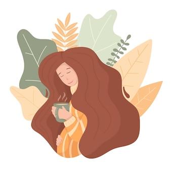 Каракули беременная женщина с длинными объемными волосами. зимняя уютная тематика, кружка с чаем или кофе, теплый свитер.