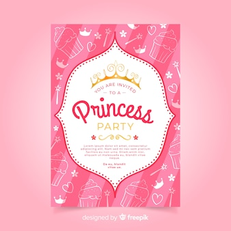 Doodle princess party invitation template