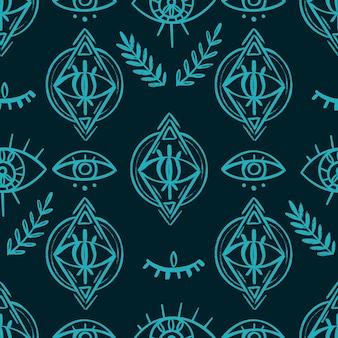 낙서 환각 눈 완벽 한 패턴입니다. boho 신비로운 벽지 및 섬유 표면 배경입니다. . 벡터 일러스트 레이 션
