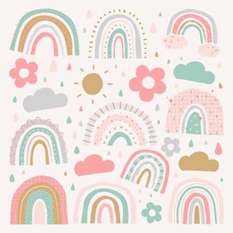Doodle rainbow in cute style vector set