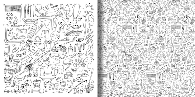 Doodle rest at nature set and seamless pattern