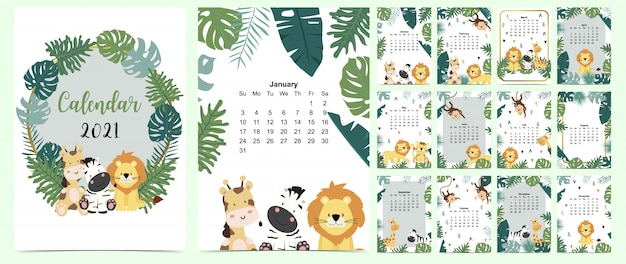 Doodle safari calendar set 2021 with lion, giraffe,zebra,monkey,palm for business.can be used for printable graphic Premium Vector
