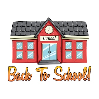 Doodle school building with color and back to school text