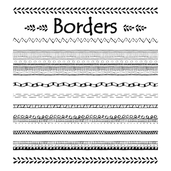 Doodle seamless border. doodle element set.