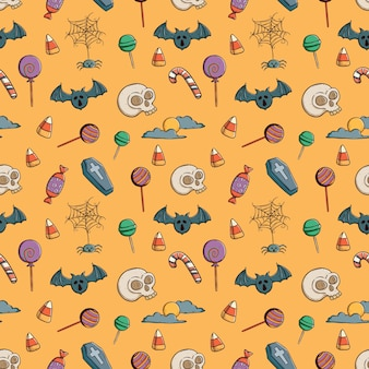 Doodle seamless pattern of halloween icons