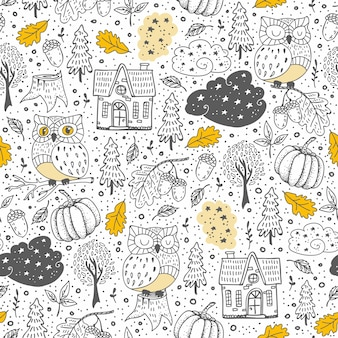 Doodle seamless pattern with autumn elements