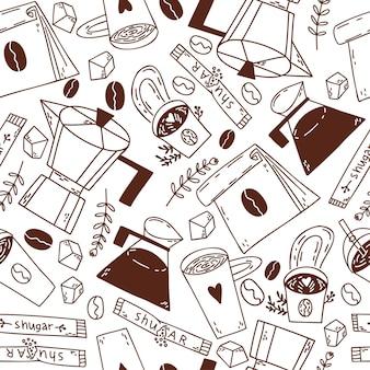 コーヒーの穀物の間欠泉コーヒーメーカーカップとコーヒー紙コップでシームレスなパターンを落書き