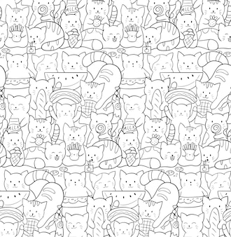 Doodle seamless pattern with cute kawaii cats. kittens with fast food and sweets.