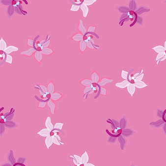 Doodle seamless pattern with cute orchid flowers print