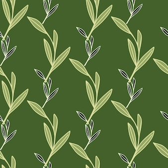Doodle seamless pattern with decorative outline leaf branches foliage ornament
