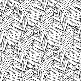 Doodle seamless pattern with ethnic leaves. creative spring textile swatch or packaging design. zentangle coloring page
