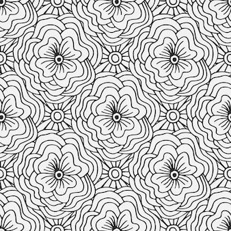 Doodle бесшовные модели с цветами. творческий текстильный образец или дизайн упаковки. взрослая книга раскраски.