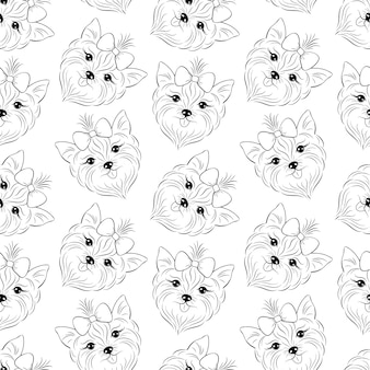 Doodle seamless pattern with head of dog
