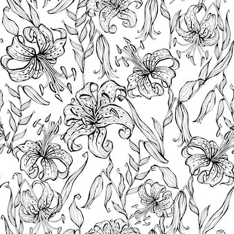 Doodle seamless pattern with lilies..