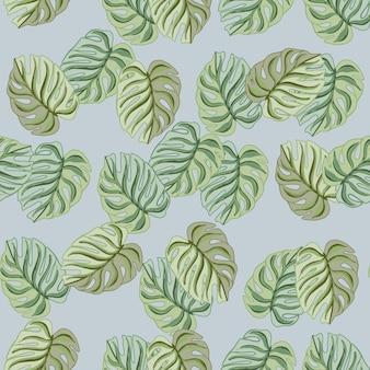 ランダムな抽象的な緑のモンステラのシルエットが印刷されたシームレスなパターンを落書き。青い背景。季節のテキスタイルプリント、ファブリック、バナー、背景、壁紙のベクトルイラスト。