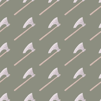 Doodle seamless pattern with stylized weapon viking ax silhouette