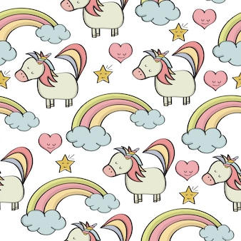 Doodle seamless pattern with unicorns