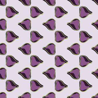 Doodle seamless tropical fruits pattern with simple fig purple ornament. grey background. food print. designed for fabric design, textile print, wrapping, cover. vector illustration.