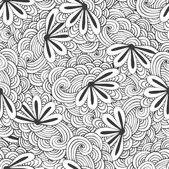 ベクトルの花と落書きのシームレスな波のパターン。 zentangleの色付けページ