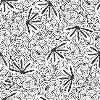 Doodle seamless waves pattern with flowers in vector. zentangle coloring page
