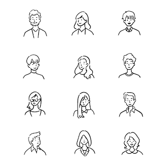 Doodle set of avatar office workers, cheerful people, hand-drawn icon style, character design,  illustration.