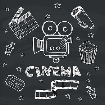 Doodle set of cinema simple icons