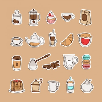 Doodle set of coffee and tea icons isolated on white background: grinder, beans, honey, frappe, coffee to go, teapot, cinnamon, milk, croissant, macarons, cake, pancakes, milkshake. stickers