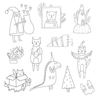 クリスマスのテーマを着色する落書きセットサンタ猫恐竜猫クリスマスツリー