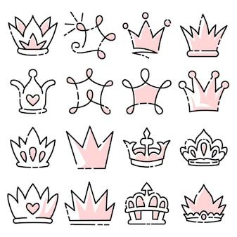 Каракули набор короны линии искусства, векторные иллюстрации.