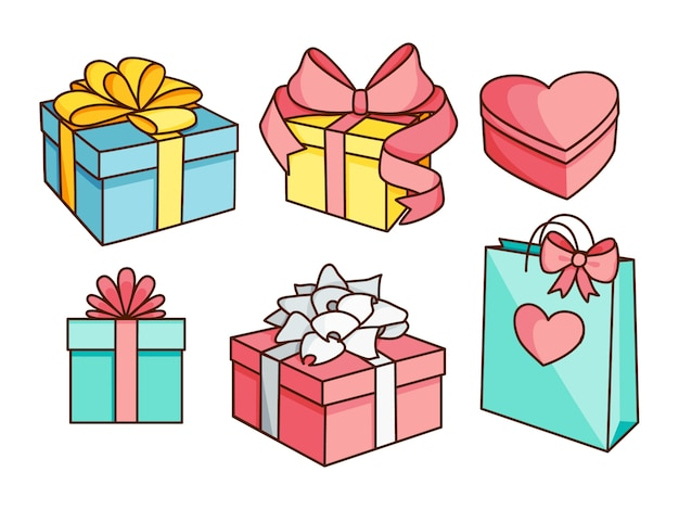 Doodle set of gift boxes with bows, heart shaped box, gift bag.