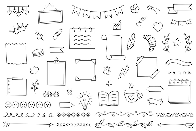 Doodle set hand drawn elements for diary notebook and planner vector calendar for study and work