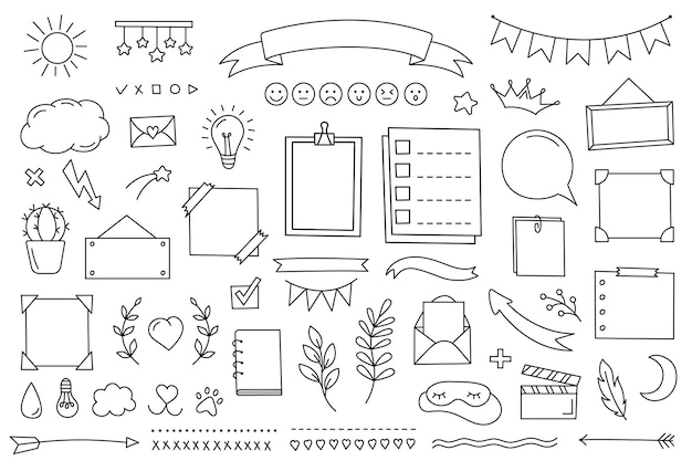 Doodle은 일기, 노트북 및 플래너를 위해 손으로 그린 요소를 설정합니다. 라인에서 장식 프레임 및 스티커 컬렉션
