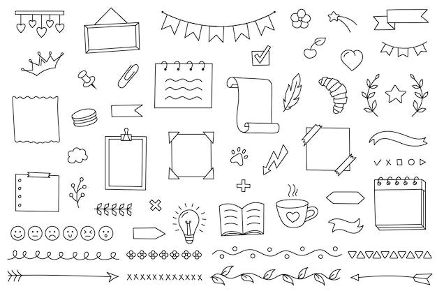 Doodle은 일기 노트와 플래너를 위한 손으로 그린 요소를 연구 및 작업을 위한 벡터 달력으로 설정합니다.
