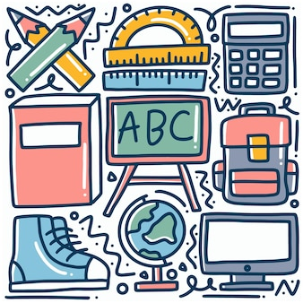 Doodle set of hand drawn school tools with icons and design elements