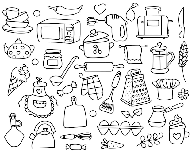 Doodle set of kitchen hand drawn tools.cooking equipment collection.