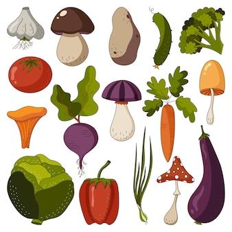Каракули набор овощей и грибов осеннего урожая набор вегетарианской еды
