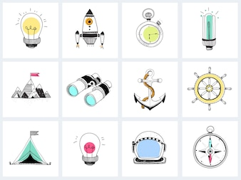 Doodle set of business strategy