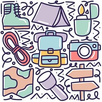 아이콘 및 디자인 요소로 그리기 캠프 도구 손 세트 낙서