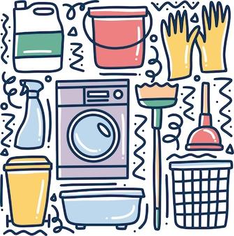 아이콘 및 디자인 요소와 함께 그리기 청소 도구 손의 낙서 세트