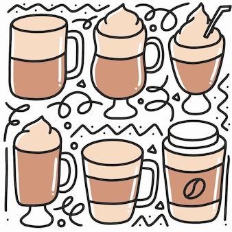 Каракули набор кофейных чашек ручной рисунок с иконами и элементами дизайна