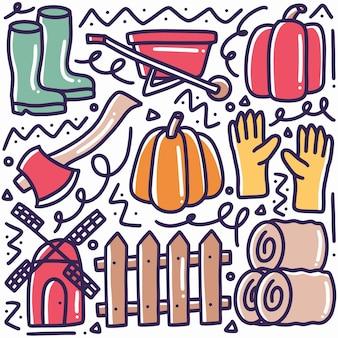 아이콘 및 디자인 요소로 그리기 농업 및 원예 도구 손의 낙서 세트