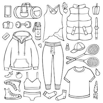 Каракули набор женской одежды и предметов для фитнеса и спорта