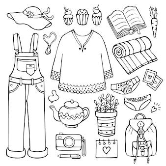 Doodle набор женской одежды и предметов образа жизни на теплое время года