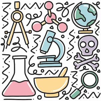 아이콘 및 디자인 요소와 손으로 그린 화학 도구 세트 낙서