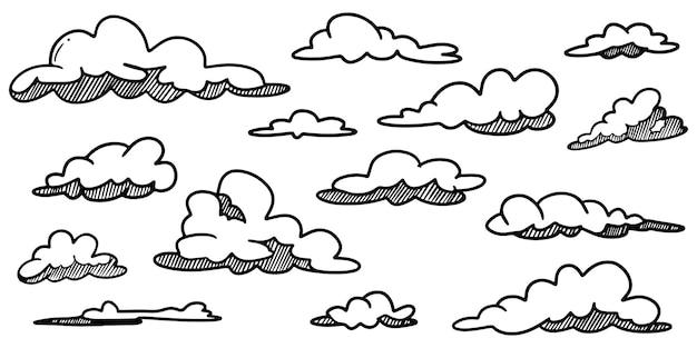Каракули набор рисованной облака, изолированные для концептуального дизайна. векторные иллюстрации.