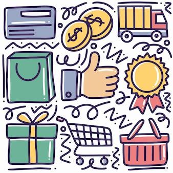 アイコンとデザイン要素を使用した手描きの配達と配送のオンラインショッピングの落書きセット