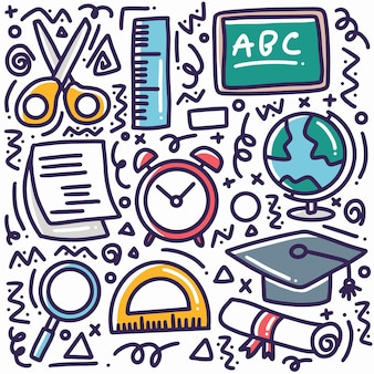 Каракули набор рисованной школьных инструментов с иконками и элементами дизайна